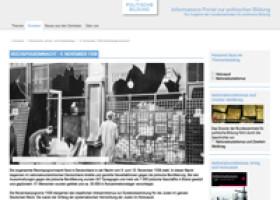 """Online-Dossier """"9. November 1938 – Reichspogromnacht"""" auf dem """"Informations-Portal zur politischen Bildung"""""""