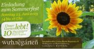 Zehn Jahre Wuhlegarten – Einladung zum Sommerfest  23. Juni 2013